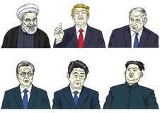 Reeks Wereldleiders Donald Trump, Hassan Rouhani, Benjamin Netanyahu, Maan jae-binnen, Shinzo Abe, Kim Jong-un Vectorbeeldverhaal royalty-vrije illustratie