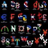 Reeks wereldvalutasymbolen met nationale vlaggen Alfabet van valutasymbolen van verschillende landen het 3D teruggeven geïsoleerd royalty-vrije illustratie