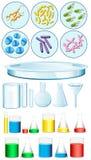 Reeks wetenschapscontainers en bacteriën op dienblad royalty-vrije illustratie