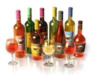 Reeks wijn en cognacflessen en drinkbekers royalty-vrije stock foto's