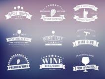 Reeks wijnemblemen met linten Stock Foto