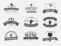Reeks wijnemblemen met linten Royalty-vrije Stock Afbeelding