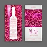 Reeks wijnetiketten De achtergrond van de waterverf stock illustratie
