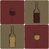 Reeks wijnglazen en flessen Royalty-vrije Stock Foto