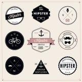 Reeks wijnoogst gestileerde ontwerp hipster pictogrammen. Vector Stock Afbeelding