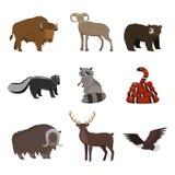 Reeks wilde dieren van Noord-Amerika op witte achtergrond wordt geïsoleerd die royalty-vrije illustratie