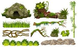 Reeks wildernisvoorwerpen royalty-vrije illustratie