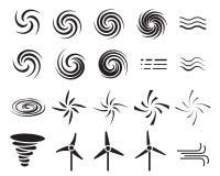 Reeks windpictogrammen in velen stijl vector illustratie