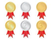 Reeks winnende medailles Stock Afbeelding