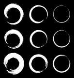 Reeks Witte Grunge-Cirkelvlekken Stock Foto