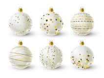 Reeks witte Kerstmisballen royalty-vrije stock foto's