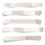 Reeks witte lege document vector gevouwen die banners op wit wordt geïsoleerd Stock Fotografie