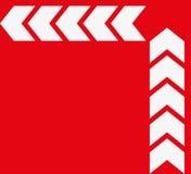 Reeks witte pijlen op rode achtergrond Richtingsindicator vector illustratie