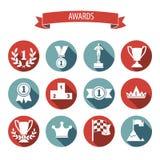 Reeks witte vector van de toekenningssucces en overwinning vlakke pictogrammen op colo Royalty-vrije Stock Fotografie
