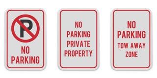 Reeks witte verticale tekens van de parkerenaandacht stock foto's