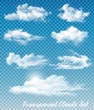 Reeks witte wolken op een transparante hemelachtergrond royalty-vrije illustratie