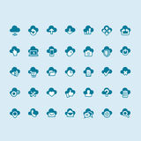 Reeks wolk gegevensverwerkingspictogrammen Royalty-vrije Stock Fotografie