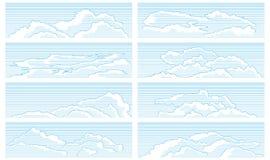 Reeks wolken die in uitstekende stijl worden getrokken. Royalty-vrije Stock Afbeelding