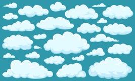 Reeks wolken van verschillende vormen in de hemel voor uw websiteontwerp, UI, app Meteorologie en atmosfeer in ruimte stock illustratie