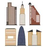 Reeks wolkenkrabbers voor infographics Royalty-vrije Stock Afbeeldingen