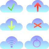 Reeks wolkenpictogrammen, gegevensverwerkingspictogrammen en emblemen Royalty-vrije Stock Foto