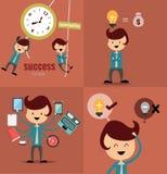 Reeks zakenmanpictogrammen, bedrijfsbeeldverhaal, idee het werken Stock Foto's