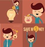 Reeks zakenmanpictogrammen, bedrijfsbeeldverhaal, idee het werken Royalty-vrije Stock Afbeelding