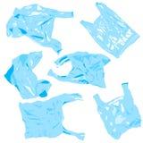 Reeks zakken van het plastikcellofaan Hergebruik, kringloopplastiek Ecologieproblemen stock illustratie