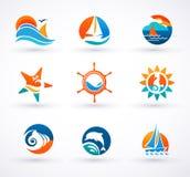 Reeks zeevaart, overzeese pictogrammen en symbolen Royalty-vrije Stock Fotografie