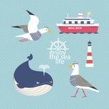 Reeks ZeevaartPictogrammen royalty-vrije illustratie