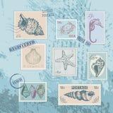 Reeks zegels met shells van de lijntekening Royalty-vrije Stock Afbeelding