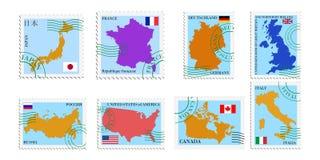 Reeks zegels van G8 landen Stock Fotografie