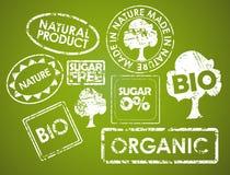 Reeks zegels voor natuurvoeding vector illustratie