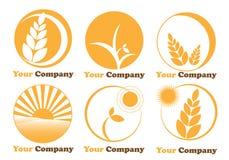 Reeks zes emblemen be*werken-landbouw Royalty-vrije Stock Afbeelding