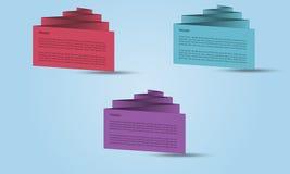 Reeks zigzag 3D banners of bezoekkaarten Stock Afbeeldingen
