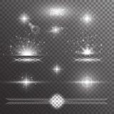 Reeks zilveren lichteffecten Royalty-vrije Stock Foto