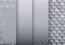 Reeks zilveren texturenachtergronden stock illustratie