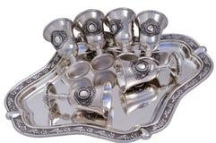 Reeks zilveren wijnglazen. Stock Foto