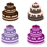 Reeks zoete cakes Stock Fotografie