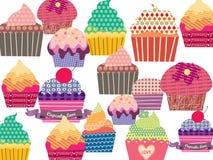 Reeks zoete cupcakes Royalty-vrije Stock Foto's