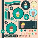 Reeks zoete cupcakes Stock Afbeeldingen
