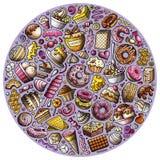 Reeks Zoete de krabbelvoorwerpen, symbolen en punten van het voedselbeeldverhaal Royalty-vrije Stock Afbeeldingen