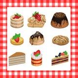 Reeks zoete smakelijke cakes op een rode plaid Stock Afbeeldingen