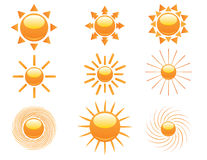 Reeks zonpictogrammen Stock Fotografie