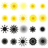 Reeks zonvectoren in geel en zwart Stock Afbeelding