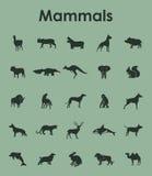 Reeks zoogdieren eenvoudige pictogrammen stock illustratie