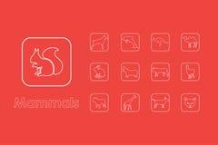 Reeks zoogdieren eenvoudige pictogrammen royalty-vrije illustratie