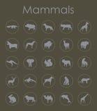 Reeks zoogdieren eenvoudige pictogrammen vector illustratie