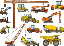 Reeks zware bouwmachines Vector illustratie Stock Afbeeldingen