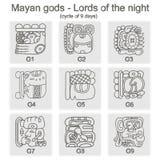 Reeks zwart-wit pictogrammen met glyphs van Maya Night Lord Royalty-vrije Stock Foto's